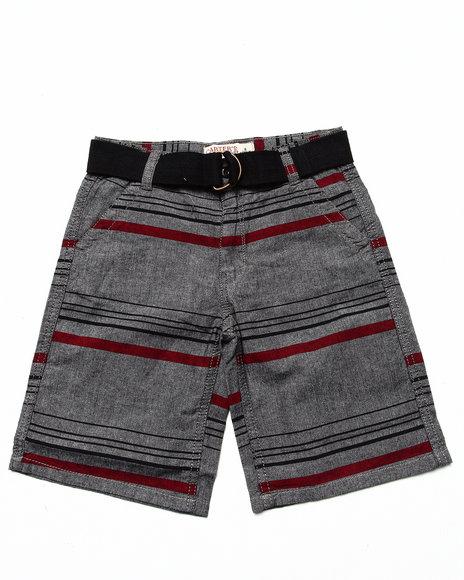 Arcade Styles - Boys Grey,Grey Striped Belted Shorts (8-20)