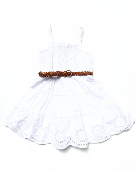 La Galleria - Girls White Smocked Dress W/ Belt (4-6X)
