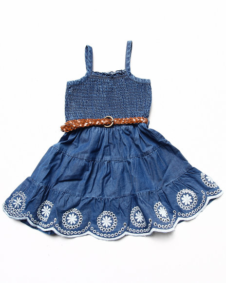La Galleria Girls Medium Wash Smocked Dress W/ Belt (4-6X)
