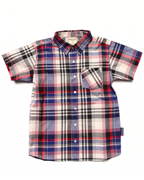 Arcade Styles - Boys Red S/S Plaid Shirt (8-20)