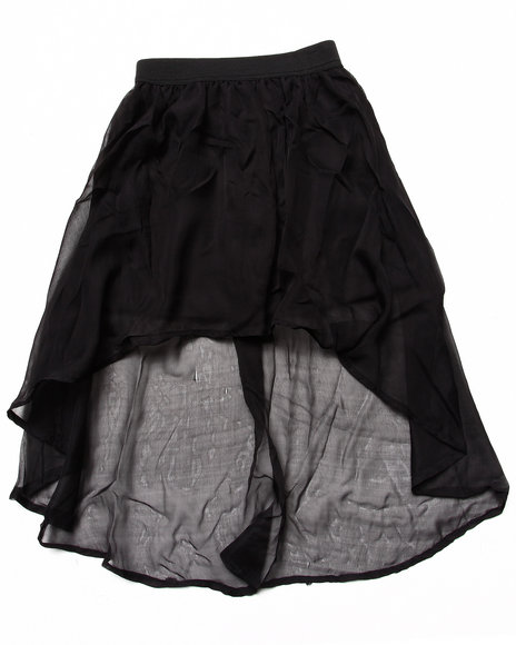 La Galleria Girls Black Hi Low Chiffon Skirt (7-16)