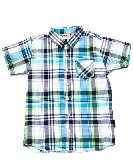 Arcade Styles - Boys Navy S/S Plaid Shirt (8-20)