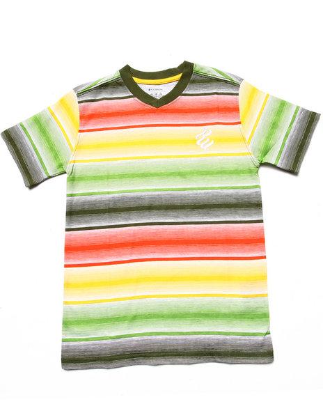 Rocawear Boys Olive Striped V-Neck Tee (8-20)