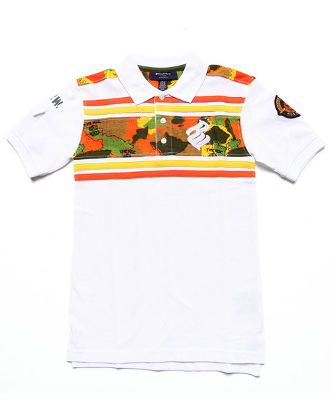 Rocawear - Boys White Printed Yoke Polo (8-20)