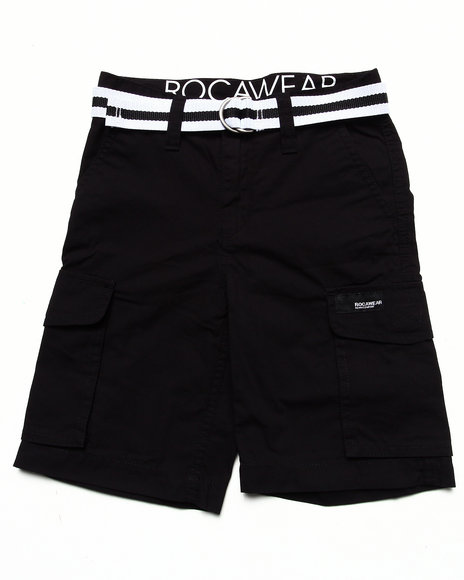 Rocawear - Boys Black Belted Cargo Shorts (8-20)