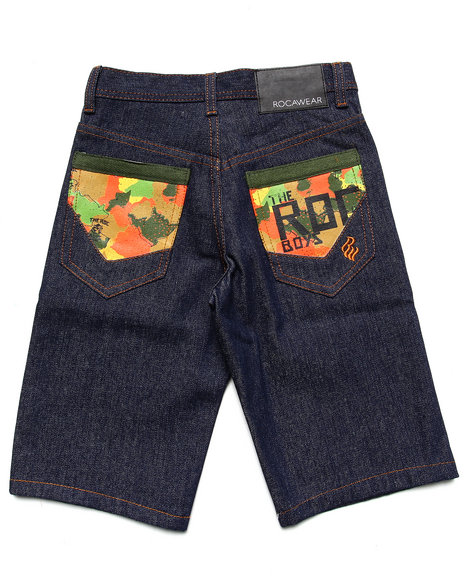 Rocawear - Boys Dark Wash Camo Pocket Shorts (8-20)