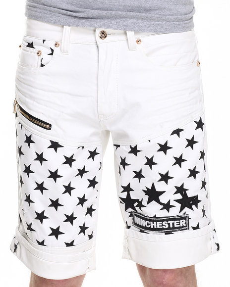 Winchester - Men Off White White Stars Zipper Trim Shorts