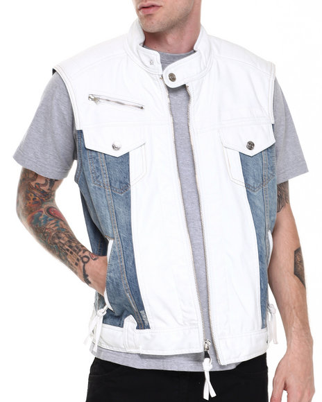 Winchester - Texas White/denim faux leather Vest