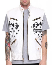 Vests - White Stars Gold Zip Detail Vest