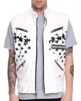 Winchester - White Stars Gold Zip Detail Vest