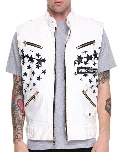 Winchester Cream White Stars Gold Zip Detail Vest