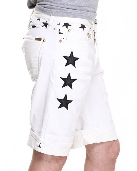 Winchester - Men Off White White Stars Premium Denim Shorts