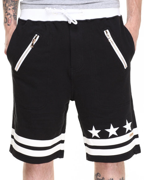 Winchester - Men Black Drop Crotch Stars Drawstring Shorts