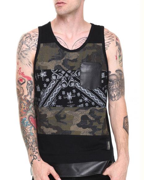Allston Outfitter - Men Black Camo Paisley Block Tank - $21.99