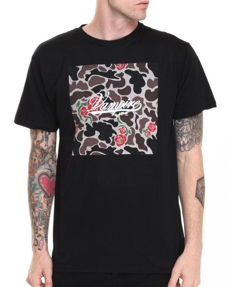 Vampire Life Black Og Rose Camo Box Script T-Shirt