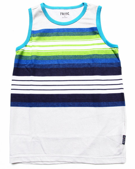 Arcade Styles - Boys Light Grey Multi Stripe Tank (8-20)