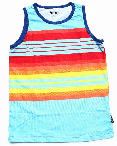 Arcade Styles - Boys Blue Multi Stripe Tank (8-20)