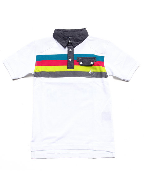 Rocawear - Boys White Bold Striped Rugby W/ Chambray Collar (8-20)