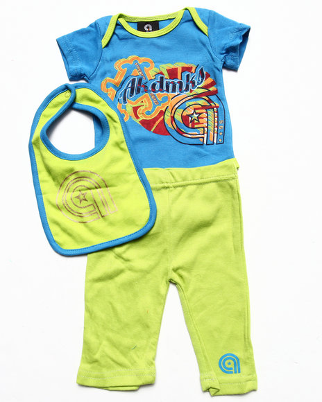 Akademiks - Boys Blue 3 Pc Set - Bodysuit, Pants, & Bib (Newborn) - $10.99