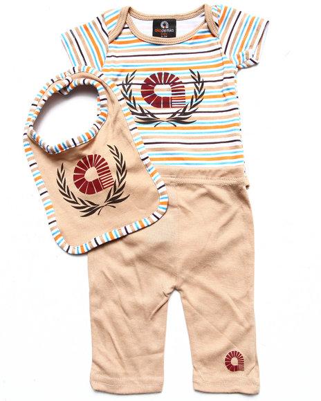 Akademiks - Boys Tan 3 Pc Set - Bodysuit, Pants, & Bib (Newborn)