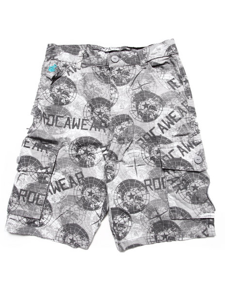 Rocawear - Boys Grey Printed Cargo Shorts (8-20)