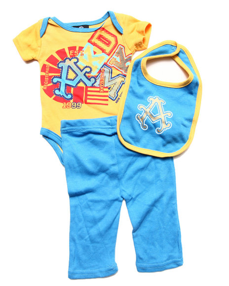 Akademiks - Boys Yellow 3 Pc Set - Bodysuit, Pants, & Bib (Newborn) - $11.99