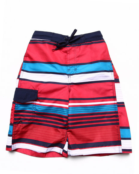 Arcade Styles - Boys Red Multi Stripe Swim Shorts (8-20)