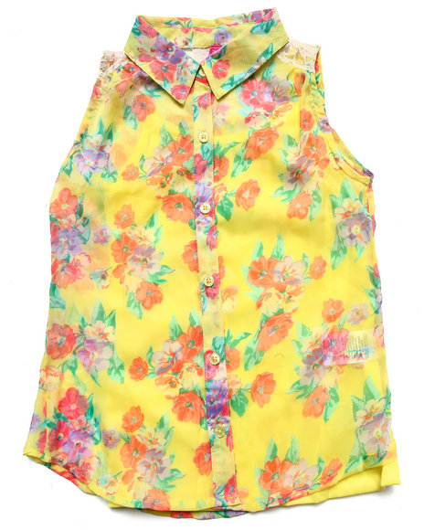 La Galleria Girls Lime Green Floral Print Chiffon Top & Cami (7-16)