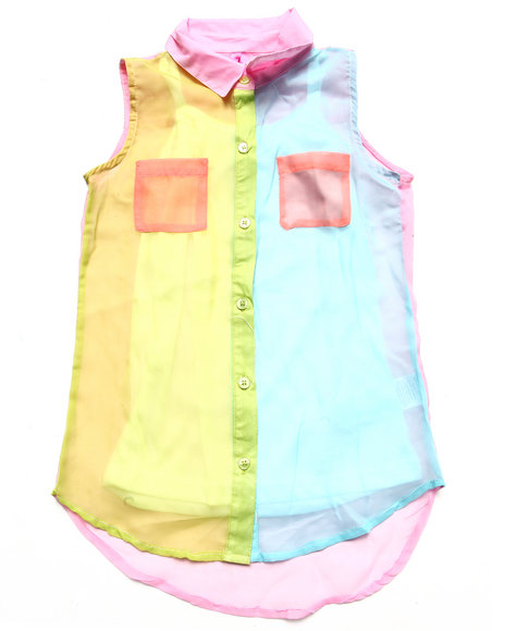 La Galleria - Girls Pink Color Block Chiffon Top & Cami (7-16)