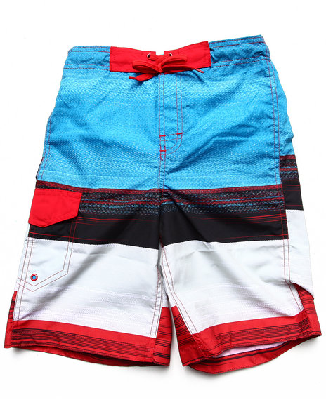 Arcade Styles - Boys Red Space Dye Stripe Swim Shorts (8-20)