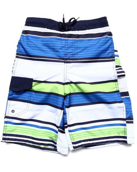 Arcade Styles - Boys Blue Multi Stripe Swim Shorts (8-20) - $14.99