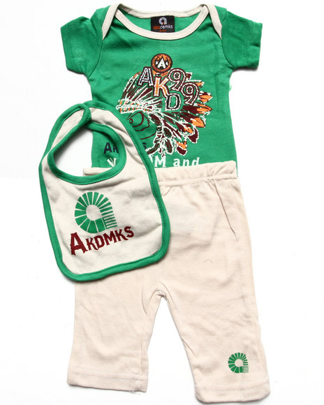 Akademiks - Boys Green 3 Pc Set - Bodysuit, Pants, & Bib (Newborn)