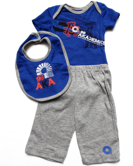 Akademiks - Boys Blue 3 Pc Set - Bodysuit, Pants, & Bib (Newborn) - $11.99