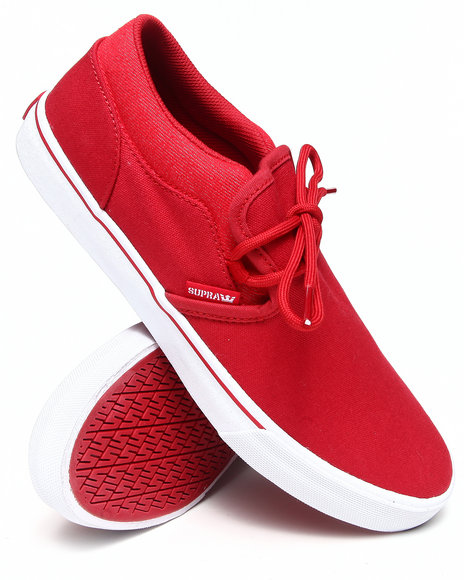Supra Red Cuba Red Canvas Slip-On Sneakers