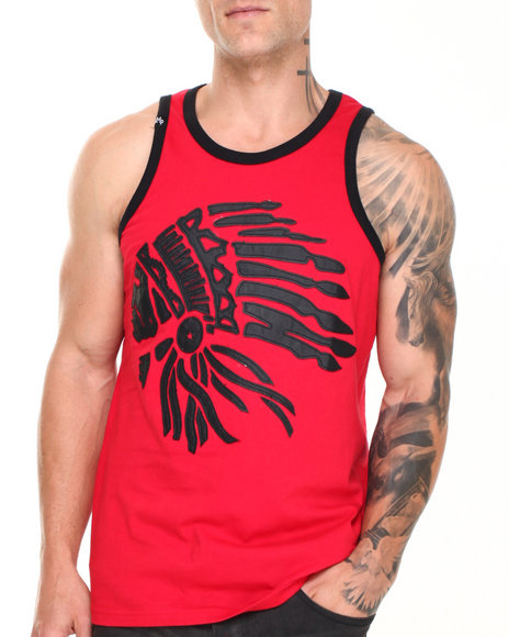 Buyers Picks - Men Red Chief Head Faux Leather Detail Tank Top