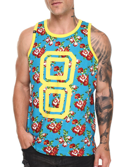 Buyers Picks - Men Teal Rose Garden All Over Print Tank Top