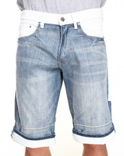 Men - Texas White faux Leather denim Shorts