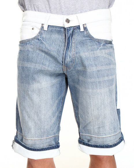 Winchester - Men Light Wash Texas White Faux Leather Denim Shorts