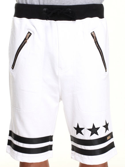 Winchester - Men White Drop Crotch Stars Drawstring Shorts