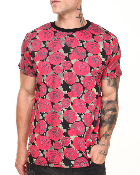 Buyers Picks - Men Black Roses All Over Print Tee