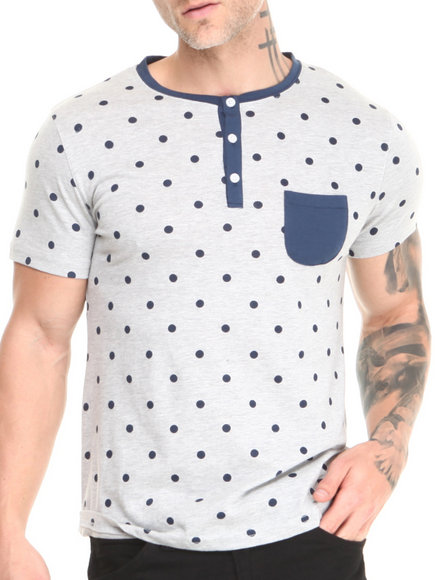 Buyers Picks - Men Light Grey Short Sleeve Pocket Henley