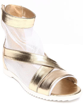 Fashion Lab - Angela Criss Cross Strap & Mesh Peep Toe Sandal