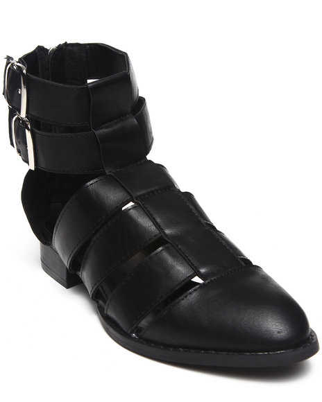 Fashion Lab - Women Black Karlie Strappy Closed Toe Sandal W/ Ankle Buckle Straps