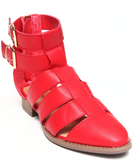 Fashion Lab - Women Red Karlie Strappy Closed Toe Sandal W/ Ankle Buckle Straps