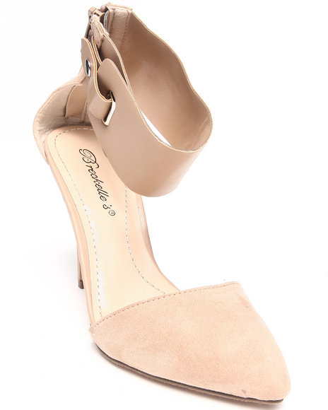 Fashion Lab - Women Beige Elida Pointy Toe Pump W/ Thick Ankle Strap - $14.99