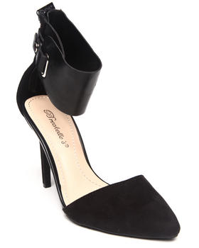 Fashion Lab - Elida Pointy Toe Pump w/ Thick Ankle Strap