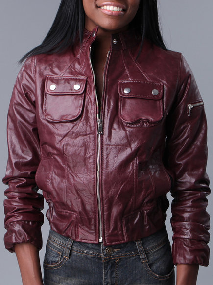 Drj Leather Shoppe - Women Maroon K & C Pocket Leather Bomber