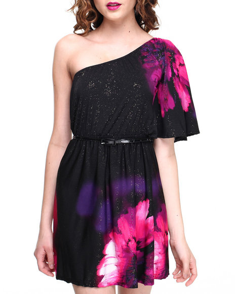 Almost Famous - Women Multi,Pink One Shoulder Placement Print Belted Dress - $18.99