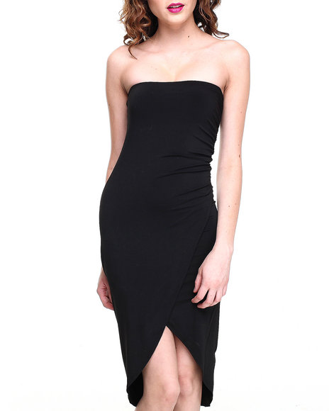 Almost Famous - Women Black Cinch Side Stretch Tube Dress - $15.99