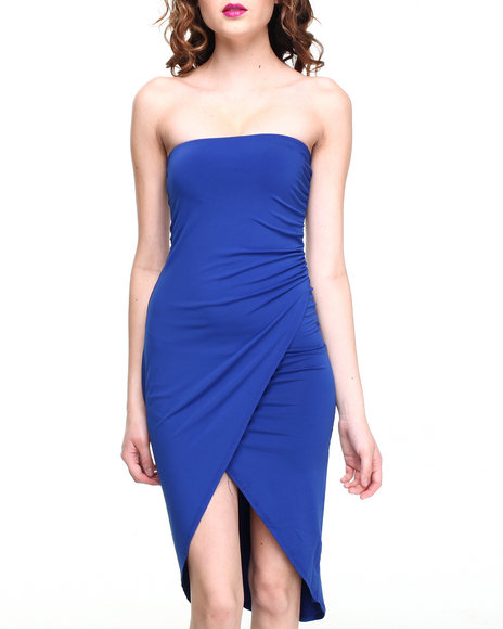 Almost Famous - Women Blue Cinch Side Stretch Tube Dress - $18.99